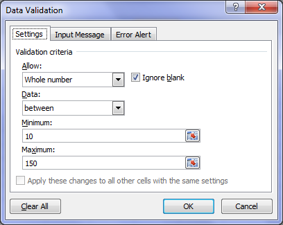 محدود کردن اطلاعات وارد شده در سلول ها