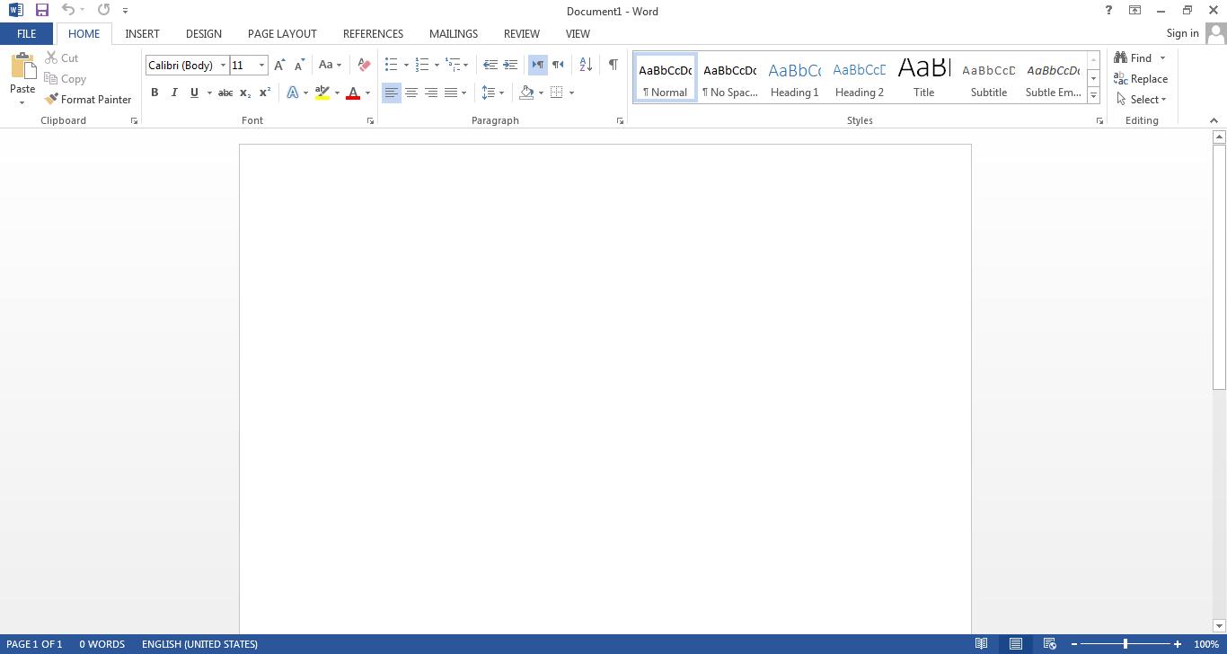 حذف صفحه شروع در Office 2013
