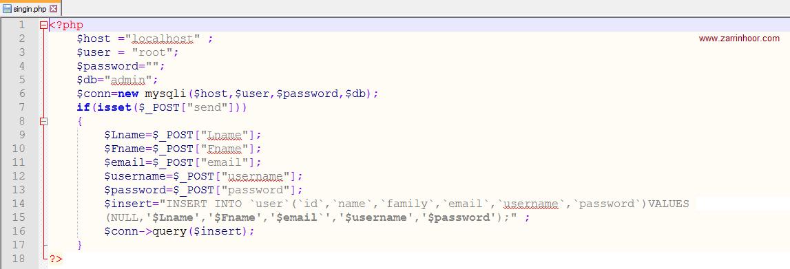 آموزش ساخت فرم ثبت نام با php و mysql