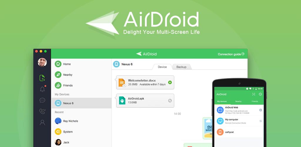 نرم افزار AirDroid یک نرم افزار مدیریتی بی سیم