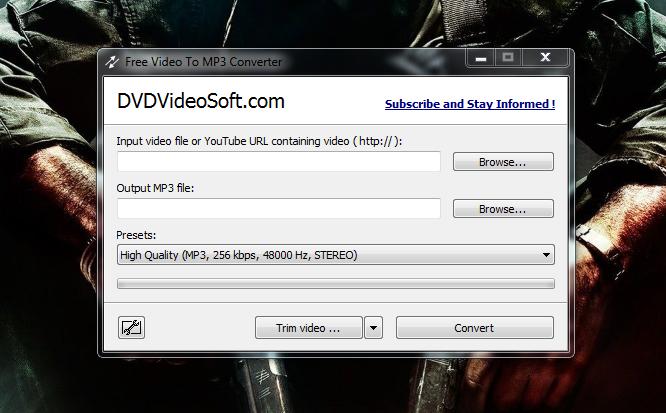 فرم اصلی برنامه Free Video To MP3 Converter