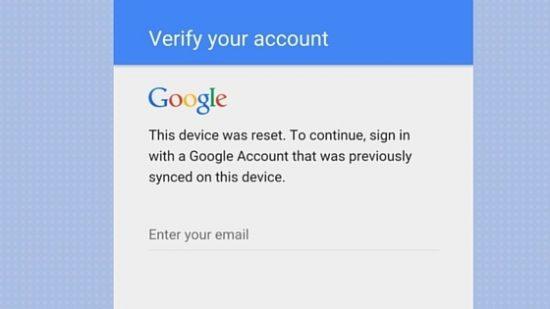 مشکل گوگل اکانت, مشکل گوگل اکانت بعد از فکتوری ریست