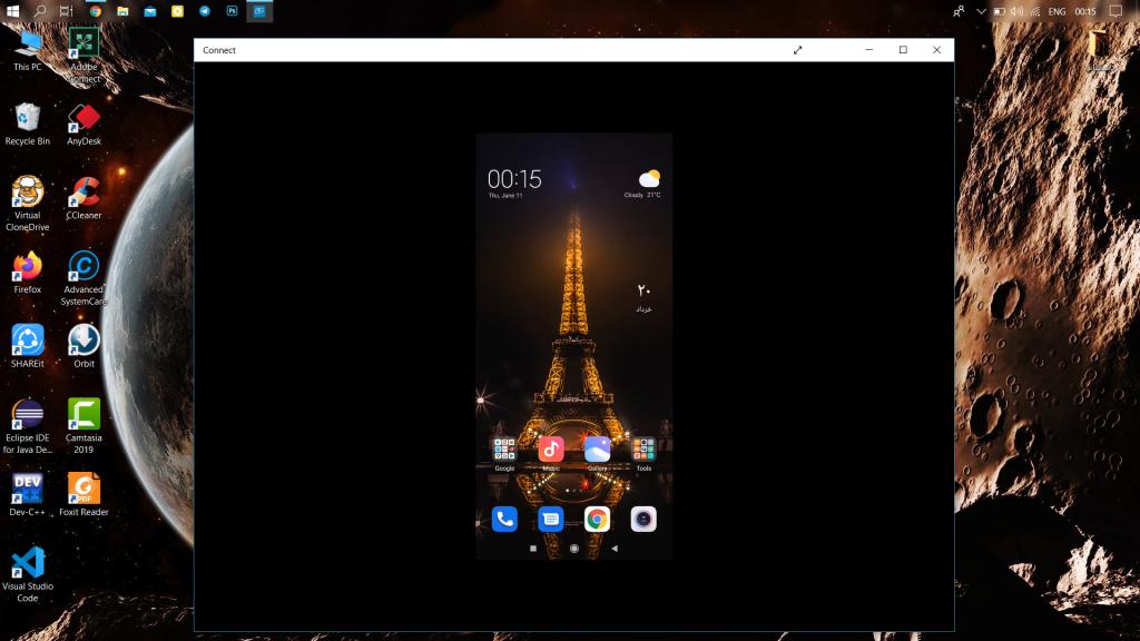 نحوهی به اشتراکگذاری صفحه گوشی نمایش صفحهی گوشی روی کامپیوتر